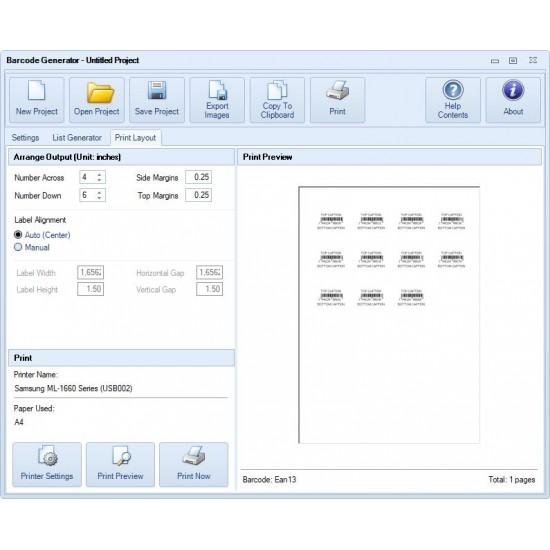 Rosistem Barcode Generator - software pentru crearea si tiparirea de coduri de bare